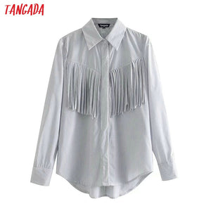 Tangada women elegant tassel striped blouse long sleeve 2019 oversized shirt office ladies work wear tops 4M58