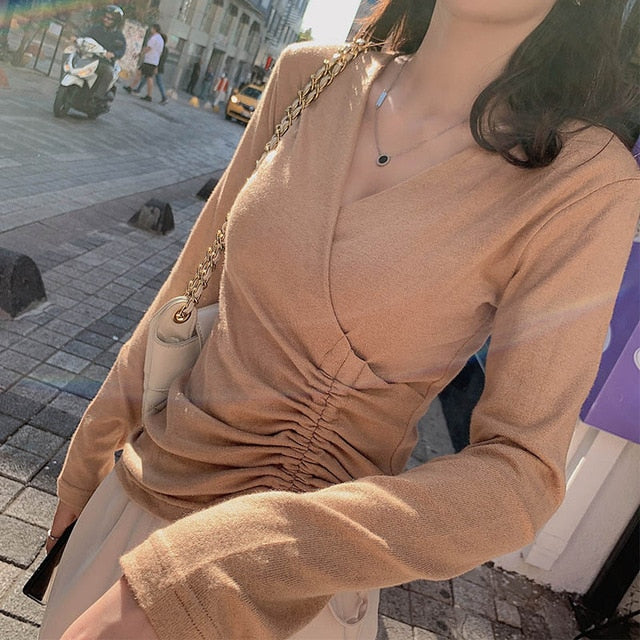 MISHOW 2019 New Korean Style Vintage Long Sleeve Knitting Sweater V-Neck Streetwear Slim Women Shirt MX19C5435