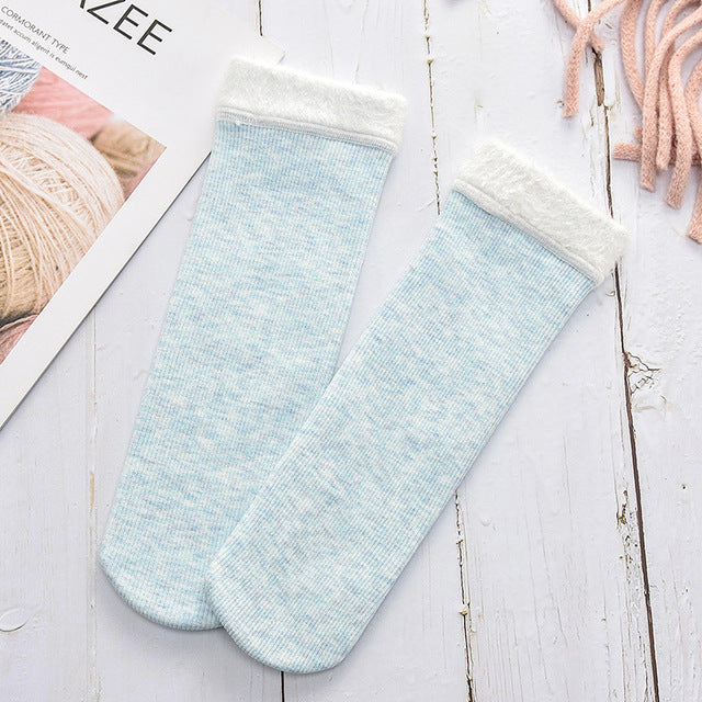 Winter Warm Socks Women Colored Cotton Plus Velvet Thickening Socks Breathable And Sweat-absorbing Fashion Mid Sock