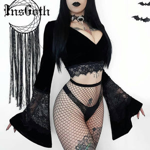 InsGoth Sexy Women Crop Top Flare Long Sleeve Lace Hollow Out Black T-shirt Gothic Retro Bodycon Female V-neck Tops Elegant Top