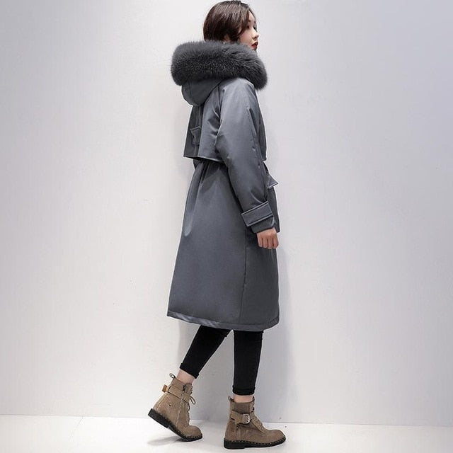 Fitaylor Large Real Fox Fur Collar Long Coat Winter Jacket Women 90% White Duck Down Thick Parkas Warm Sash Tie Up Snow Outwear