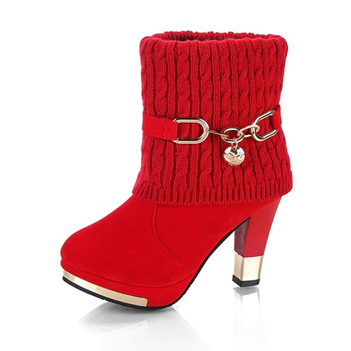 Winter Women Boots Christmas Ankle Boots High Heels Ladies Shoes Femme Warm Short Boots Red Black Shoes Plus Size 34-43