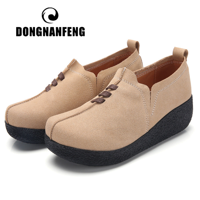 DONGNANFENG Women Female Mother Ladies Genuine Leather Cow Suede Shoes Flats Platform Slip On Korean Plus Size 42 43 LLX-3022
