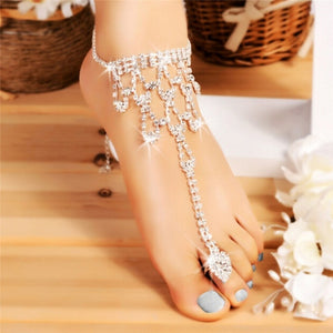 Bridal Crystal Foot Toe Anklet Bracelet Beach Barefoot Sandals Fashion Ankle Jewelry Accessory  Women Summer Beach Jewelry