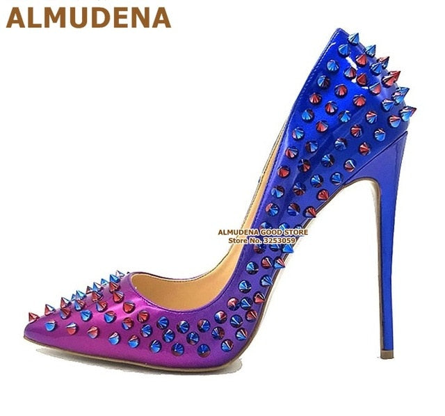 ALMUDENA 8 10 12cm Stiletto Heels Rivets Pointed Toe Shoes Red Pink Black Studded Wedding Shoes Full Spikes Dress Pumps Size45
