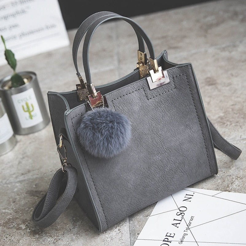 JIULIN handbag women shoulder bag luxury handbags women bags designer High-grade Scrub leather messenger bag Hairball women bag