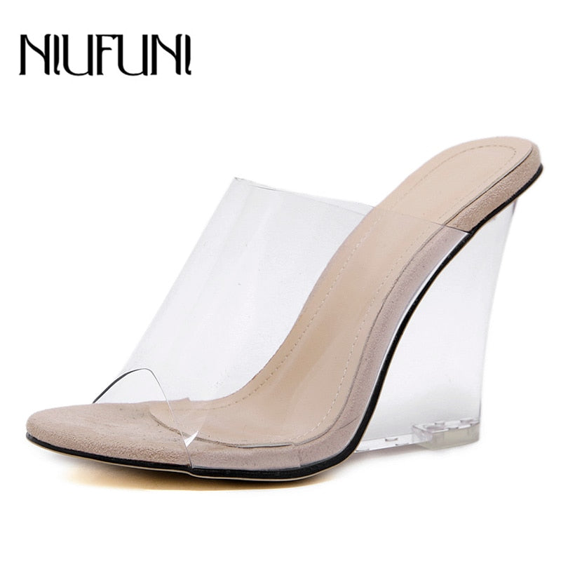 Sexy 2 Colors Transparent Crystal Women's Slippers 2019 Wedge Heel Shoes Slides High Heels Women Shoes Fashion Wedge Sandals