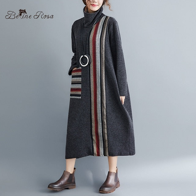 BelineRosa Retro Style Knitting Long Dresses Women's Striped Turtleneck Collar Winter Dress YPYC0021