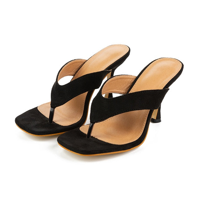 Kcenid 2020 New ladys summer slippers flip flops high heels square toe solid black slippers-women slides shoes big size 41 42