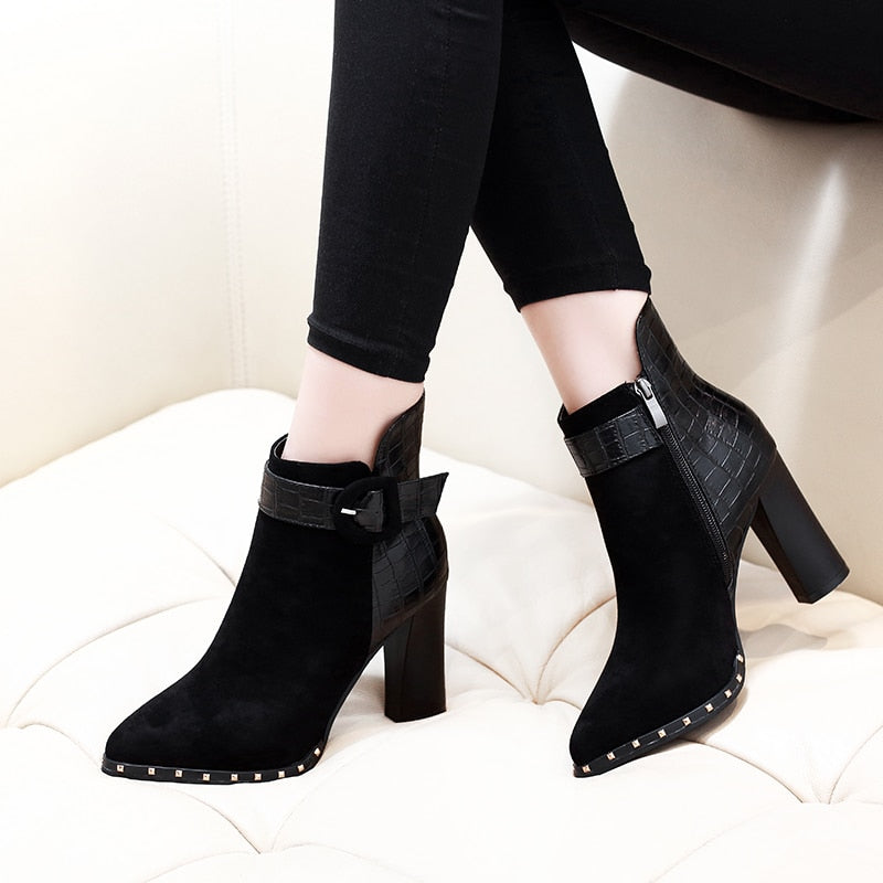 2018 New Fashion Classic Sexy Women Boots Shoes Thick High Heel Buckle Ankle Boots Autumn Winter Ladies Shoes CH-B0106