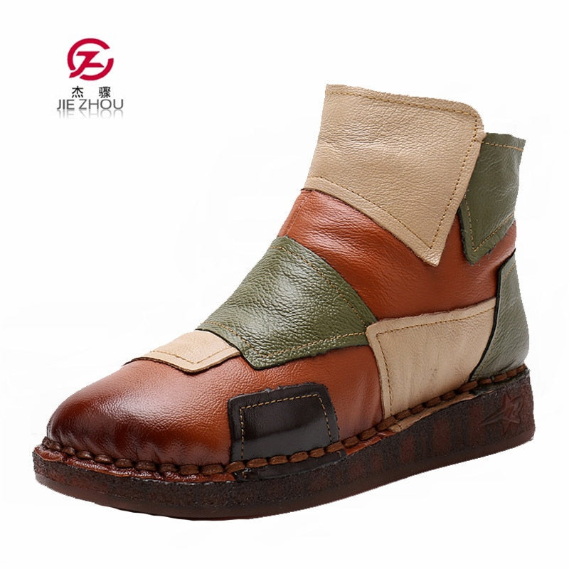 2019 Autumn Winter Real Women's Boots Genuine Leather Retro Handmade Mixed Colors Warm Ankle Boots Women Flat Casual Shoes