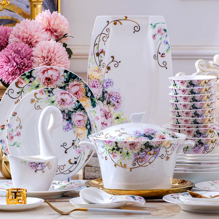 60 Heads Dish set home simple European jingdezhen ceramics Chinese bowl plate combination dishes and plates sets