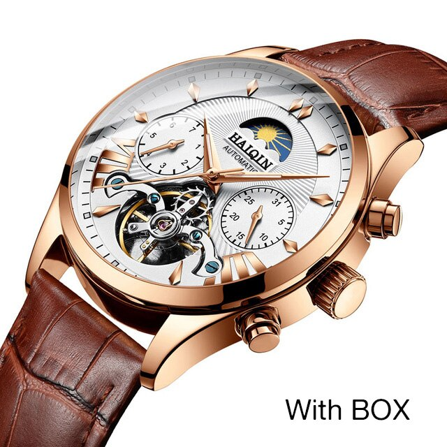 HAIQIN Mechanical mens/men's watches top brand luxury Watch men Business sport wristwatch men clock 2019 reloj hombre tourbillon