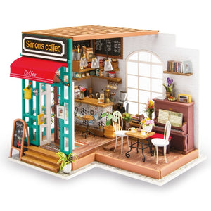 Robotime Art Dollhouse DIY Miniature House Kits Mini Dollhouse with Furniture Simon's Coffee Toys for Children Girl's Gift DG109