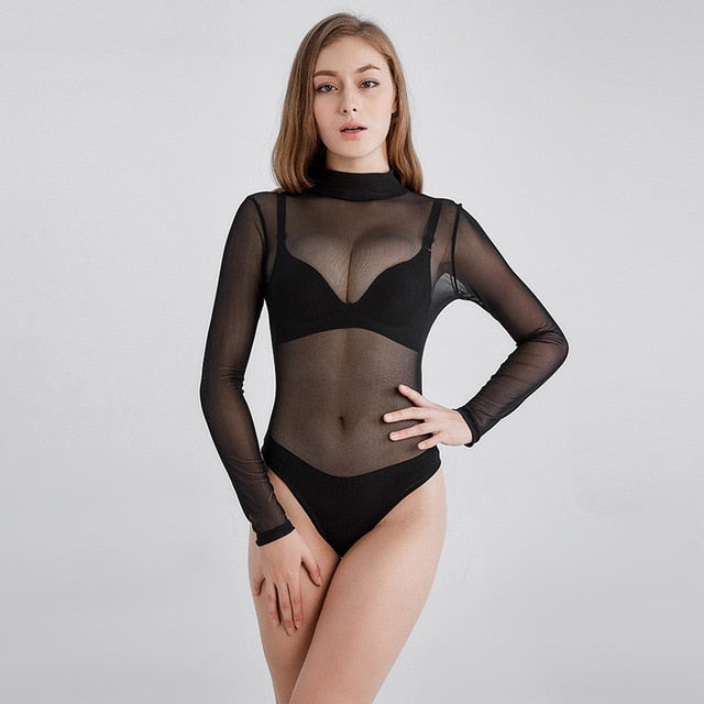 YGYEEG Bodysuit Women Body Suits For Women Sexy Romper Black Mock Neck 2020 Fashion Long Sleeve Hollow Out Back Mesh Bodysuit