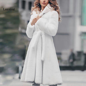 Faux fur coat long Winter Thicken White  Coat Lace-up Solid Color Slim Long Plush Faux Fur Hooded Warm Jacket new fashion 1