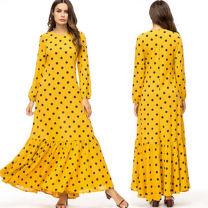 Vestidos 2019 Spring Polka Dot Arabic Muslim Hijab Dress Women Abaya Dresses Robe Dubai Kaftan Elbise Turkish Islamic Clothing