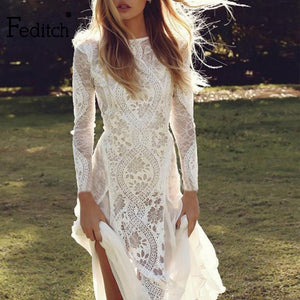 Feditch Lace Chiffon Backless Summe Maxi Dress Long Sleeve Print White Dress Light Female Party Dresses Sexy NightclubVestidos