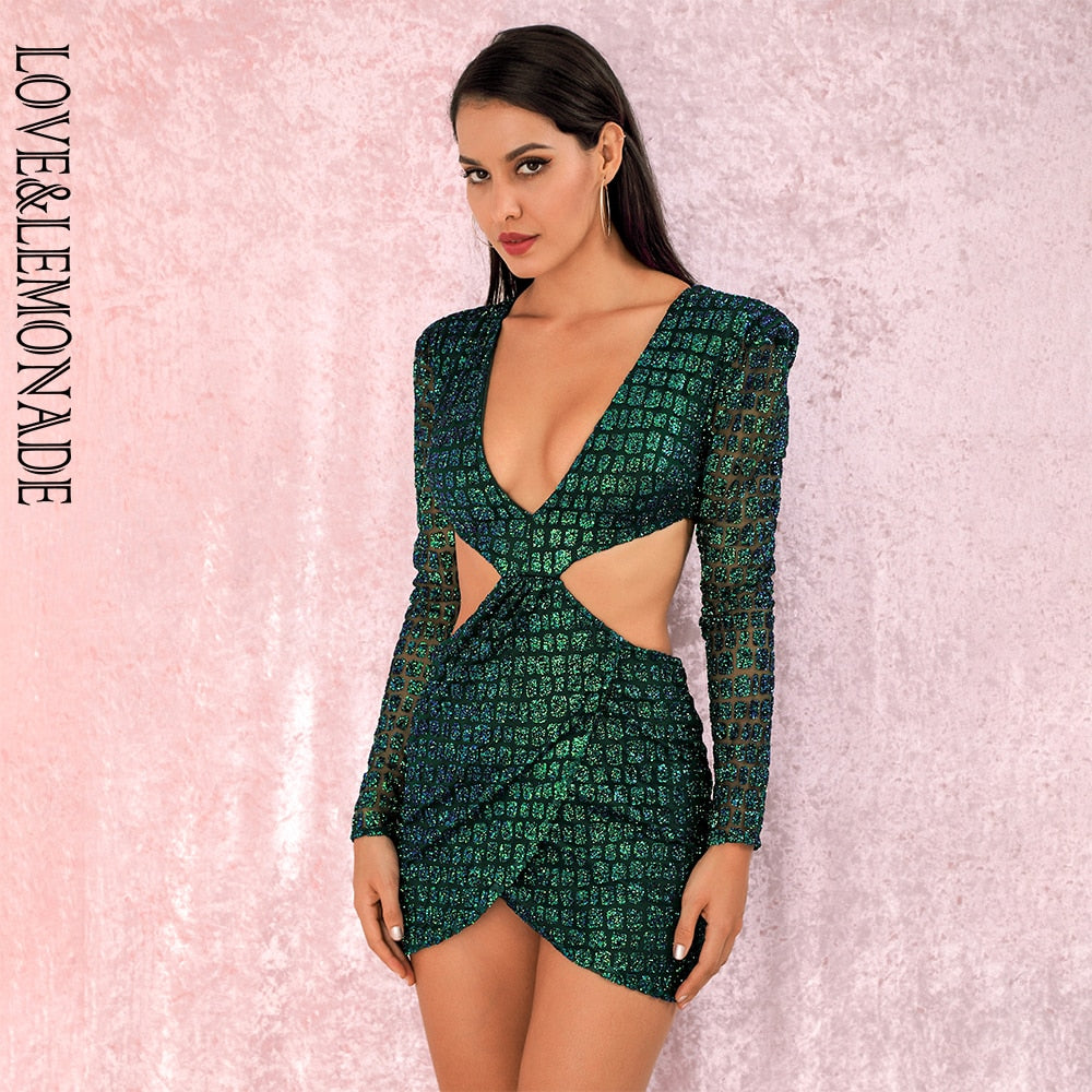 LOVE&LEMONADE Sexy green Deep V-neck Open back Cross glitter glued Material Slim Fit Party Dress LM82065