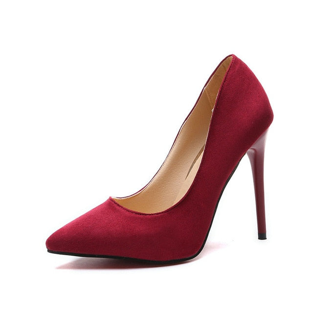 Big Size 35-44 women's shoes 2020 concise flock high heels women pumps pointed toe classic red gray ladies wedding shoes office
