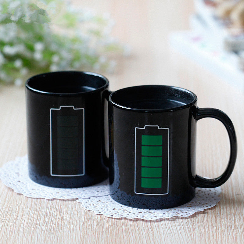 Battery Magic Mug Positive Energy Color Changing Cup Ceramic Discoloration Coffee Tea Milk Mugs Novelty Gifts