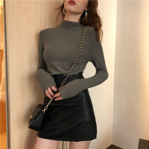 2019 Autumn Winter Women Turtleneck Long Sleeve T-shirts Tee Girls Solid Slim Basic Undershirts Tees T shirts Tops For Female