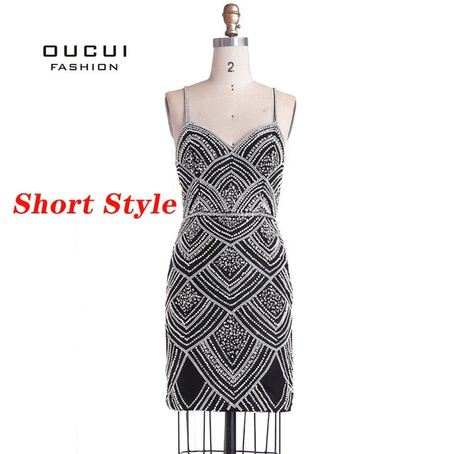 Oucui Dubai Luxury Sleeveless Mermaid Evening Gowns New Sexy Diamond Beading Gray Women Dresses Long Party Prom Dress OL103369