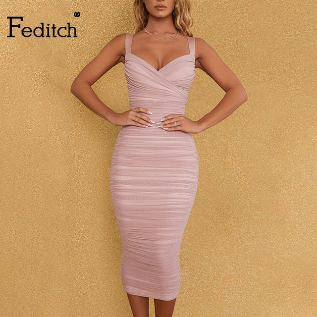 Feditch Mesh Summer Dress Women Zipper Sleeveless Spaghetti Strap Double Layer Lace Sexy Long Dress Elegant Party Dress Vestido