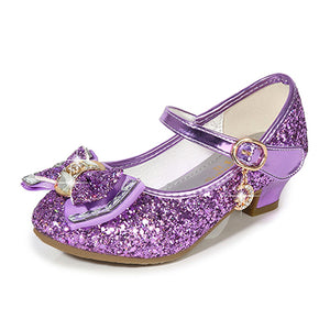 Princess Kids Leather Shoes for Girls Flower Casual Glitter Children High Heel 2020 Girls Shoes Butterfly Knot Blue Pink Silver