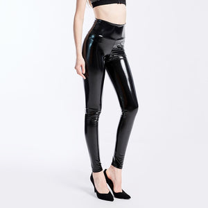YGYEEG Plus Size Leggings Leather Leggings Women High Waist Black Legging PU Leather Legging Fashion Leather Pants Women XXXL