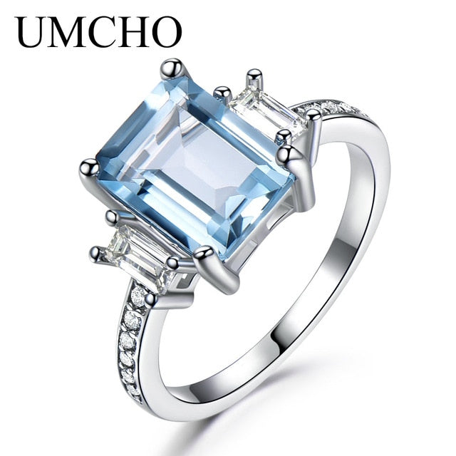 UMCHO Solid Sterling Silver Cushion Morganite Gemstone Rings For Women Engagement Anniversary Band Valentine's Gift Ring Set