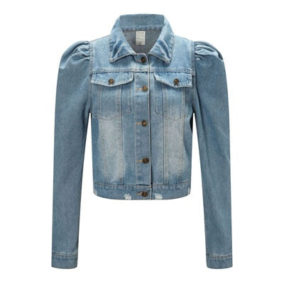 2020 Spring New Puff Sleeve Crop Denim Jackets Women Turn Down Collar Buttons Frayed Ripped Hole Jean Coat Pockets Bomber Jacket