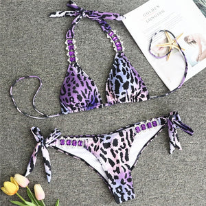 In-X Sexy Brazilian bikini set Printed swimsuit female Strapless biquini Metallic swimwear women 2020 Beachwear Bathing suit new