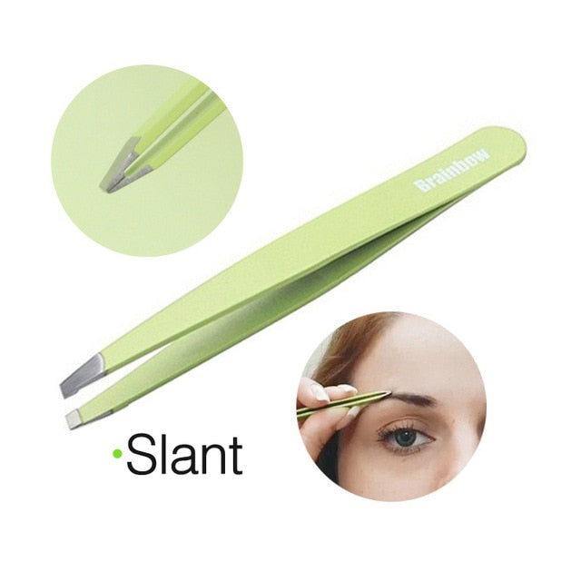 Brainbow Makeup Tool Set Kit Slant Flat Point Eyebrow Tweezer Eye Hair Removal Sharp Curved Makeup Scissors Nose Hair Remover