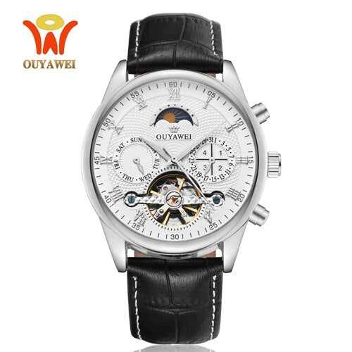 Luxury Gold Automatic Mechanical Men Watch Tourbillon Business Clock Leather Casual Business Retro Wristwatch Relojes Hombre