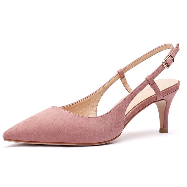 Shoes Woman 2020 Spring 6CM Thin High Heels Slingbacks Female Pointed Toe Solid Flock Women's Shoes Office Lady Elegant Sandals