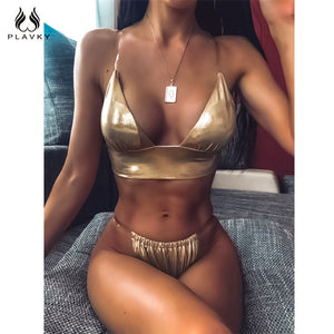 Sexy Clear Transparent Strap Reflective Shiny Gold Metallic Bikini 2020 Swimsuit Women Swimwear Beach Wear Swim Bathing Suit