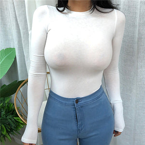 Thin Summer Top Sexy T Shirt Women 2020 Elasticity T-Shirt Korean Style Woman Clothes Slim Tshirt Female Casual Long Sleeve Tops