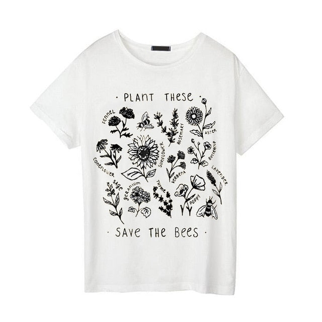 Graphic tees women Fashion t shirt Women Korean Style Women Clothes Causal Top Save The Bees Yellow T-shirt Tops Tee shirt femme