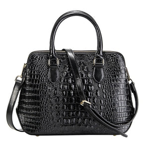 Longlight Women Genuine Leather Handbag Fashionable Crocodile Pattern Real Leather Shoulder Bag Classical Tote Crossbody Bag