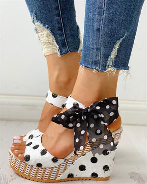 INS Sweet Polka Dot Leisure Women Wedges Shoes 2019 Summer Sandals Woman Casual Date Party Platform High Heels Shoes Woman