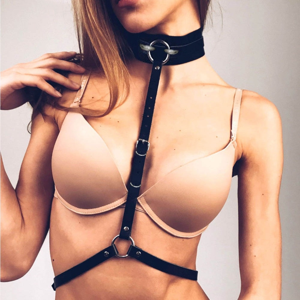 KMVEXO Fashion Sexy Harajuku PU Leather Statement Harness Buckle Punk Choker Collar Body Waist Necklace Club Party Jewelry 2020