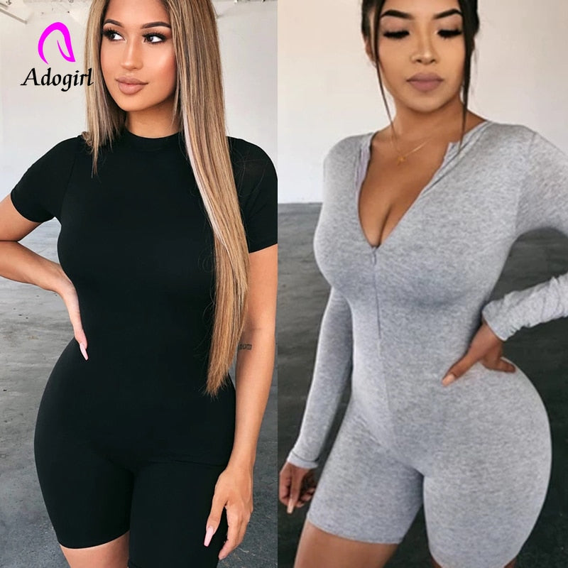 Fitness Women Skinny Bodysuit Long Sleeve Biker Playsuit Solid Cotton  Romper 2019 Female Zipper Up Neck Casual Bodysuit Outfits
