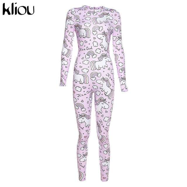 kliou female Rainbow unicorn Print bodycon fitness jumpsuit long rompers 2019 women's Sporting Bodysuit slim Cute girl style
