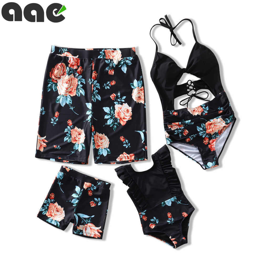 Family Matching Outfits Swimwear Mother Daughter Maillot De Bain Feminino Women Kid Son Girl One Piece Swimsuit Bathing Suit