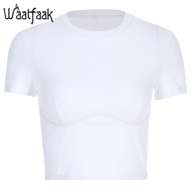Waatfaak Rib White T Shirt Plain Short Sleeves Vintage T-shirt Summer Crop Top Casual Tshirts Cotton Summer Basic Tshirt Women