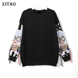 XITAO Black Long Sleeve Sweatshirts Women Patchwork Print Tassel Pullover Harajuku Hoodie Pullover Women Clothes New XWW2734