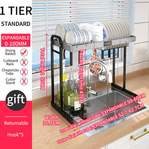 Kitchen Dish Drying Rack Over Sink Expandable Kitchen Storage Drainer Plate Rack Utensil Holders& Racks Kitchen Organizer Rack