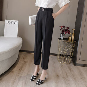 HAYBLST Brand Suit Pants For Women 2020 Summer Cargo Trousers Plus Size Casual Clothes High Waist Korean Style Straight Clothing