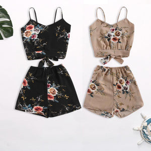 Feitong Two Piece Set Floral V Neck Cropped Top and Elastic Waisted Trim Shorts Women Clothes Casual Summer Twinset